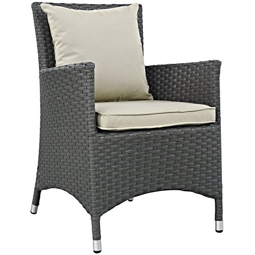 Modway Sojourn Dining Outdoor Patio Rattan Armchair With Sunbrella Brand  Antique Beige Canvas Cushions