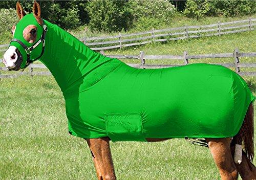 Horse Full Body Sleazy/Slicker / Sheet/Blanket with Full Separating Zipper Medium/Lime (Lycra Full Body Medium Horse)