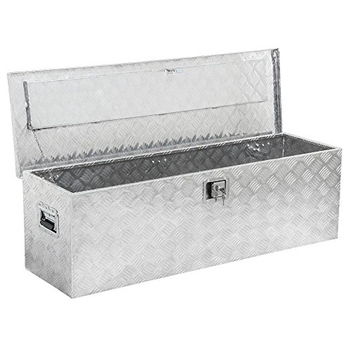 Yaheetech YT-2019311 49 inch Heavy Duty Aluminum Organizer Stainless Steel Trailer Lock Tool Boxes for Bed of Truck