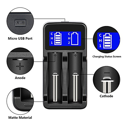2-Bay 18650 Battery Charger, LCD Display Dual Smart Batteries Charger for Li-ion 18650/18490/18350/17670/17500/16340(RCR123)/14500/10400 and Ni-MH/Ni-Cd A/AA/AAA Batteries with USB Charging cable