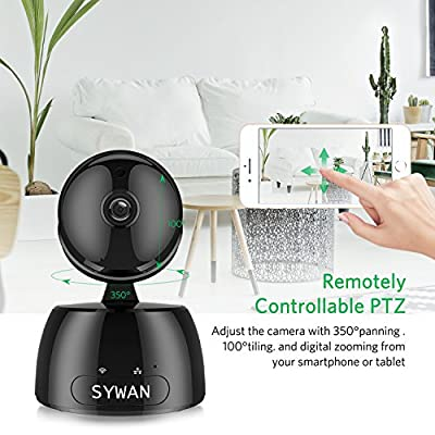 Wireless Security Camera, Sywan 1080P HD WiFi Camera Support Cloud Storage Baby Monitor Home Surveillance Camera with Motion Sounds Detection Two-Way Audio Night Vision,Black from Sywan