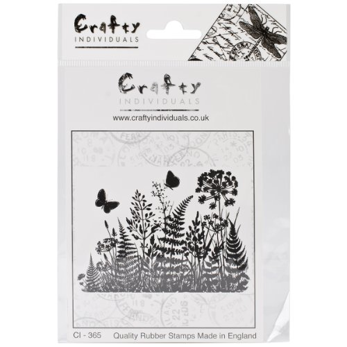 Crafty Individuals CI-365 Unmounted Rubber Stamp, Ferns and Butterflies Silhouette