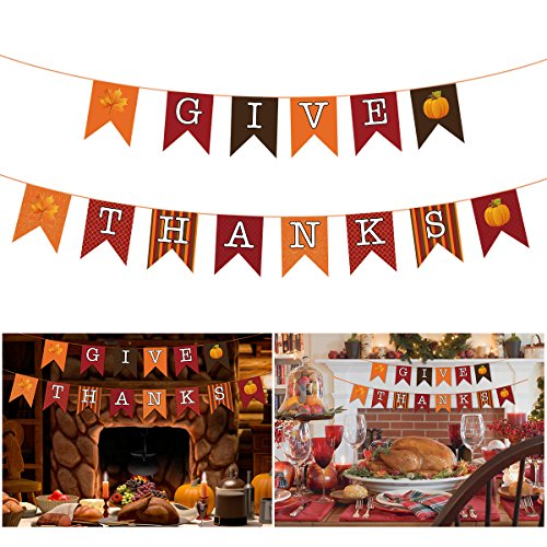 LUOEM Thanksgiving Banner Happy Thanksgiving Banner GIVE Thanks Paper Banner Swallowtail Flag Hanging Garland Thanksgiving Day Supplies for Home Party Decor -