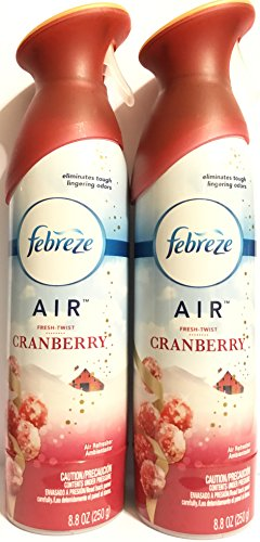 Febreze Air - Air Freshener Spray - Limited Edition - Winter Collection 2017 - Fresh-Twist Cranberry - Net Wt. 8.8 OZ (250 g) Per Bottle - Pack of 2 Bottles