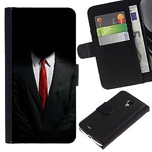 Samsung Galaxy S4 Mini i9190 / i9195 (Not For Galaxy S4) , la tarjeta de Crédito Slots PU Funda de cuero Monedero caso cubierta de piel (Anonymous Suit)