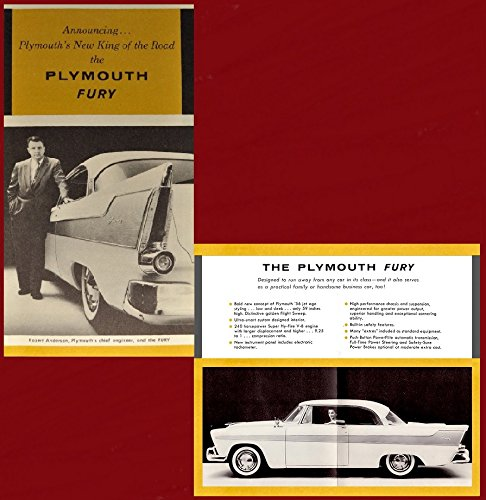 1956 PLYMOUTH FURY 2-Door HARDTOP * Announcing...Plymouth's New King of the Road...* VINTAGE PART-COLOR SALES BROCHURE:FOLDER - USA - FANTASTIC ORIGINAL !!