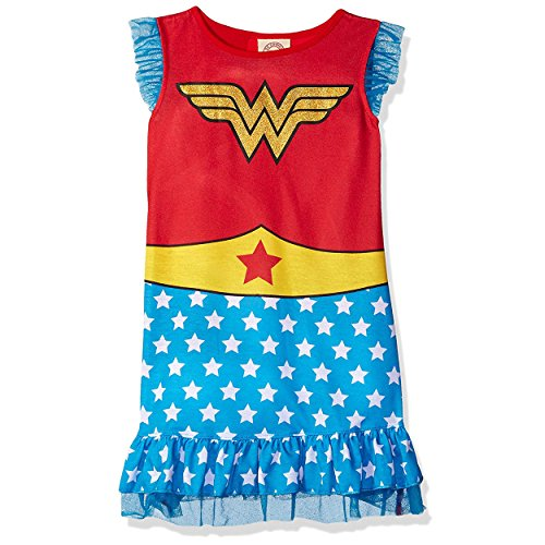 Nightgown And Cap Costume (DC Comics Big Girls' Wonder Woman Ruffle Cap-Sleeve Pajama, Blue/Red, 7/8)