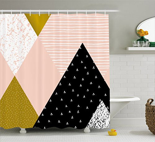 Geometric Shower Curtain by Ambesonne, Abstract Composition Hand Drawn Vintage Texture Dots Lines Triangles Modern Art, Fabric Bathroom Decor Set with Hooks, 70 Inches, (Dot Geometric Shower Curtain)