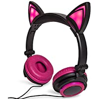 Pink Cat Ear Headphones Flashing Glowing Cosplay Kids Foldable Gaming Headsets Earphone with LED Flashing Light for iPhone 6S,Android Mobile Phone,PC Laptop Computer