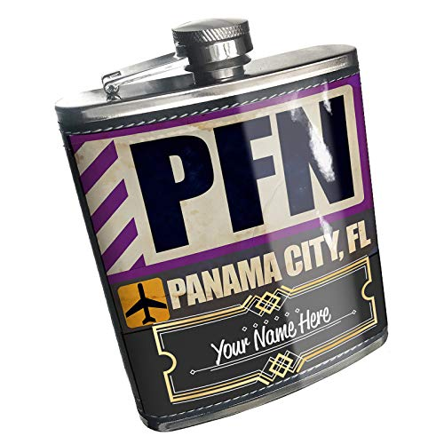 Neonblond Flask Airportcode PFN Panama City, FL Custom Name Stainless -
