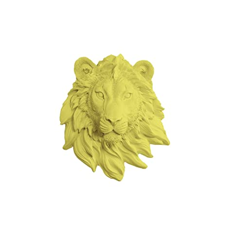Amazon.com: Wall Charmers Lion Mini in Yellow - Faux Head Bust ...