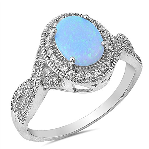 Sterling Silver Large Light Rainbow Blue Lab Opal Oval Pink Cz Ring (Style Pink Ice Ring)