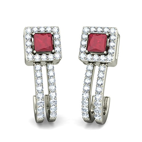 18 K Or Blanc 0,32 CT TW Round-cut-diamond (IJ | SI) et rubis Boucles d'oreille à tige
