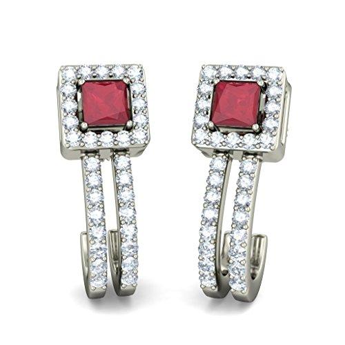 14K Or blanc 0,32CT TW Round-cut-diamond (IJ | SI) et rubis Boucles d'oreille à tige