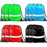 Drawstring Backpack Bag - 12 Pack Reflective Sack Backpack Sport Gym Cinch Bag Travel Fabric Drawstring Backpacks