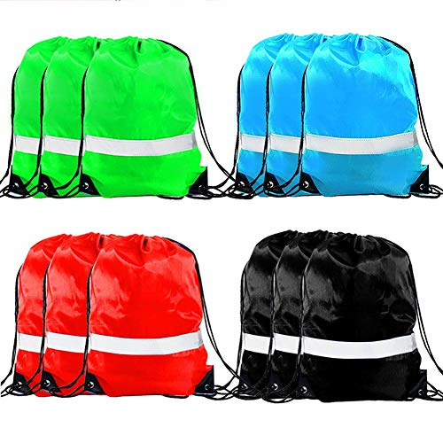 Drawstring Backpack Bag - 12 Pack Reflective Sack Backpack Sport Gym Cinch Bag Travel Fabric Drawstring Backpacks (Best Deal On Sports Shoes In India)