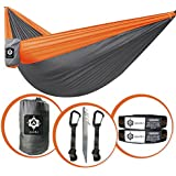 gear4U: Two Person, Double Camping Hammock with 2 Heavy Duty Tree Straps, 2 Pockets, 6 Tie Downs and Stakes. Strong Nylon Material. Best Gear for Backpacking, Hiking, Camping, Travel, Beach or Yard