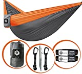gear4U Two Person, Double Camping Hammock with 2 Heavy Duty Tree Straps, 2 Pockets, 6 Tie Downs and Stakes. Strong Nylon Material. Best Gear for Backpacking, Hiking, Camping, Travel, Beach or Yard