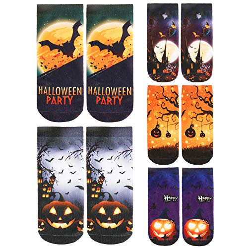 Halloween Themed 3D Printing Ankle Socks Women Girls Funny Colorful Low Cut Causal Sports Socks for Party Office 5 Packs