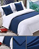 Mengersi Solid Bed Runner Scarf Protector Slipcover Bed Decorative Scarf for Bedroom Hotel Wedding Room (45x45cm for Pillow Case, Navy)