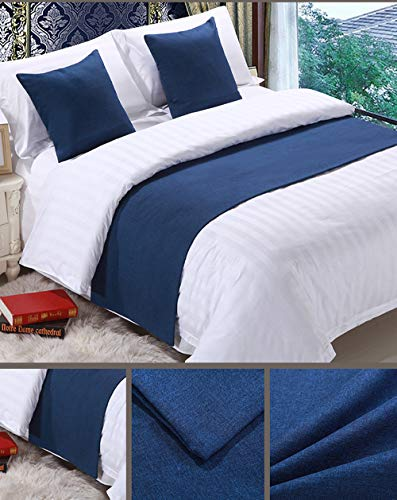 - Mengersi Solid Bed Runner Scarf Protector Slipcover Bed Decorative Scarf for Bedroom Hotel Wedding Room (Queen, Navy)