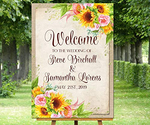 Dozili Sunflowers Wedding Welcome Sign Floral Sunflower and Roses Poster Garden Rustic Burlap Flowers Personalized Welcome Wall Decor Wedding Print