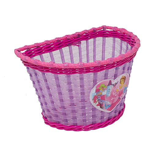 Fenix Wick Bicycle Bike Basket with Princess Heart, for Children Kid's Bicycle,12″/16″ Transparent Pink/Purple