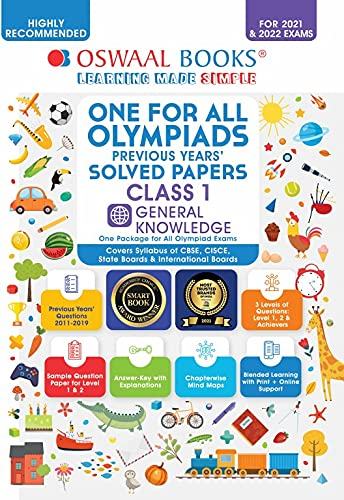 One for All Olympiad Previous Years' Solved Papers, Class-1 General Knowledge Book (For 2022 Exam)
