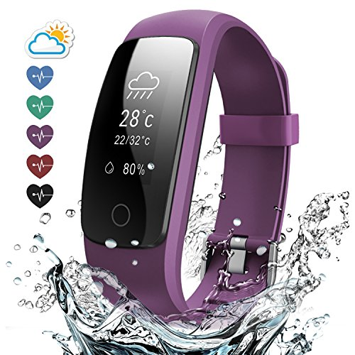 Effeltch Fitness Tracker with Heart Rate Monitor, E107 Plus Activity Tracker Smart Bracelet Watch with Pedometer Sleep Monitor Multi Sports Mode Waterproof for iPhone Android Smartphone (Purple)