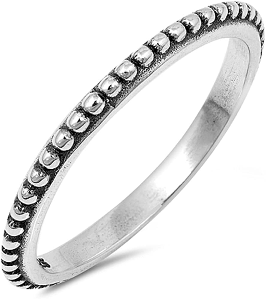 Princess Kylie 925 Sterling Silver Thin Beaded Bali Stackable Ring