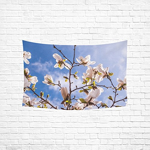 XINGCHENSS Magnolia Flowers Spring Bud Tree Pink Full Bloom Tapestry Abstract Painting Tapestry Wall Hanging Art For Living Room Bedroom Dorm Home Decor 60