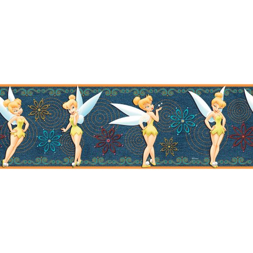 Imperial Disney Home DF059261B Tinkerbell Denim Border, Yellow, 6.83-Inch Wide (Imperial Denim)