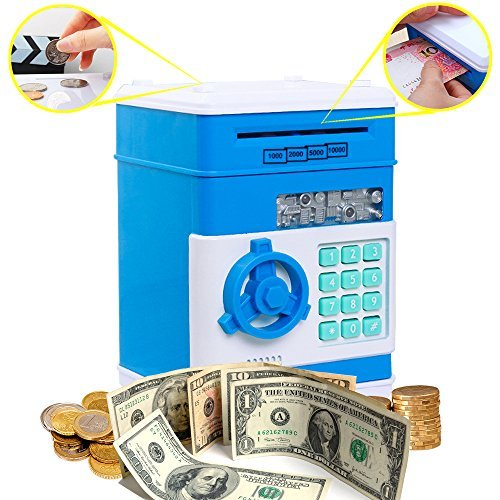 Coin Bank for Kids,Kpaco Code Electronic Money Banks,Mini ATM Coin Password Box Saving Banks,Baby Toys Gifts Birthday Gifts for Kids - Blue