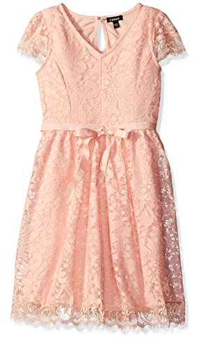ZUNIE Big Girls' Capsleeve Vintage Lace Dress, Blush, 10