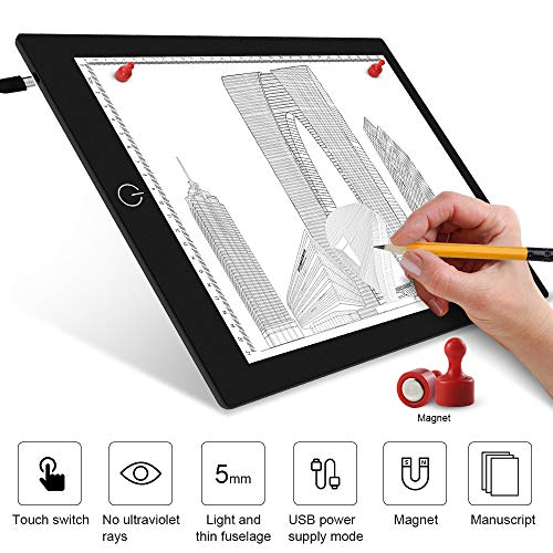 FastDeng LED Light Box Tracer A4 Ultra-Thin Portable USB Power Cable Dimmable Brightness LED Artcraft Tracing Lightbox Light Pad for Artists Drawing Sketching Animation Stencilling