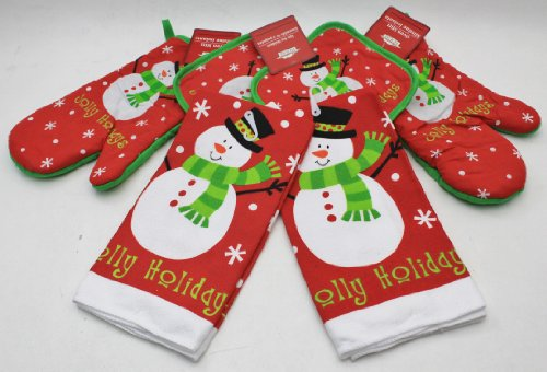 Snowman Kitchen Accessories, Includes 2 Pot Holders, 2 Oven Mitts & 2 Towels