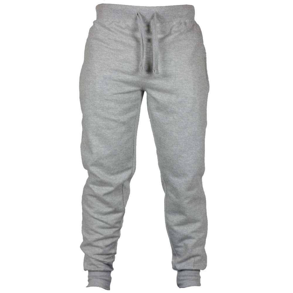 Spbamboo Mens Sweatpants Casual Joggers Solid Elastic Waist Drawstring Trousers