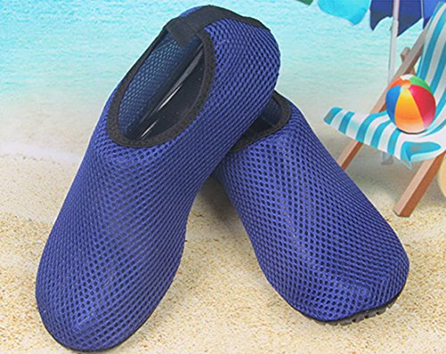 Panegy Mens Womens Atmungsaktives Mesh-Outdoor-Soft-Sohle Anti-Rutsch-Fuß Waten Slip-On Water Skin Schuhe Blau