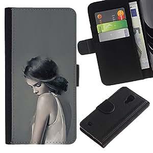All Phone Most Case / Oferta Especial Cáscara Funda de cuero Monedero Cubierta de proteccion Caso / Wallet Case for Samsung Galaxy S4 IV I9500 // Girl In White