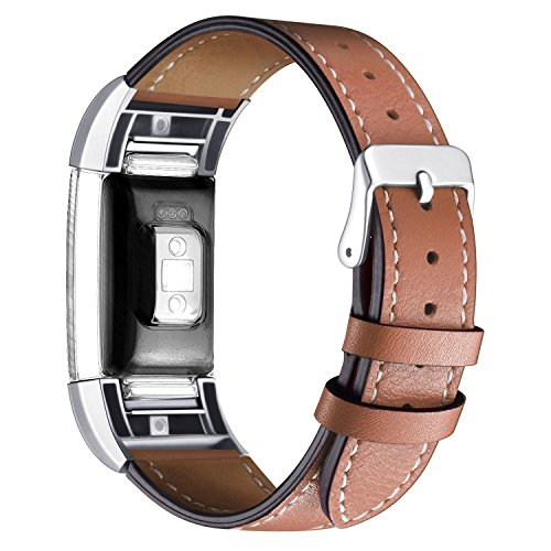 Wishesport For Fitbit Charge 2 Bands Leather Replacement Bands Accessory Classic Genuine Leather Wristband With Metal Connectors Fitness Strap for Charge 2 (Calf Small Leather)