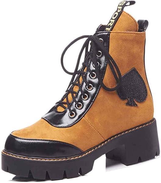 47ba829c73a Amazon.com   Aisun Women's Stylish Round Toe Platform Punk Boots ...
