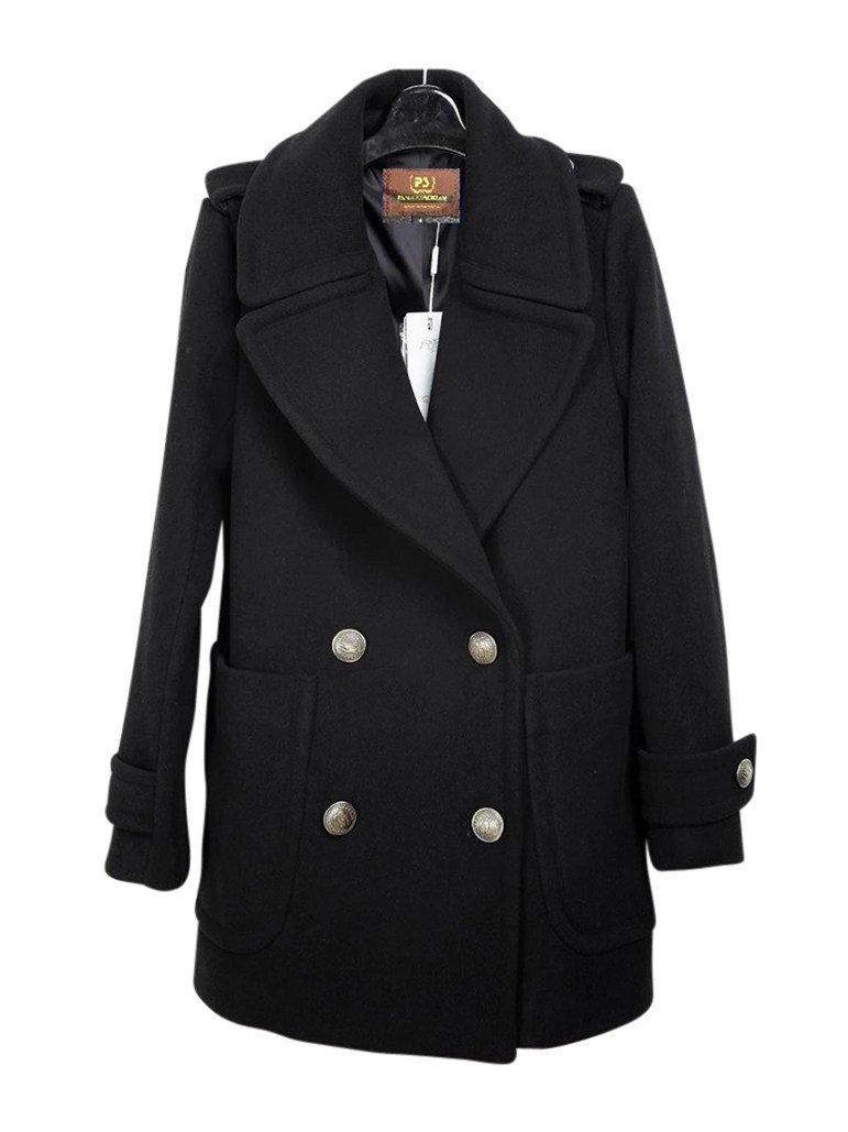 Missfox Donna Classico Collare Di Turndown Doppio Petto Giacca Coat Size L Nero