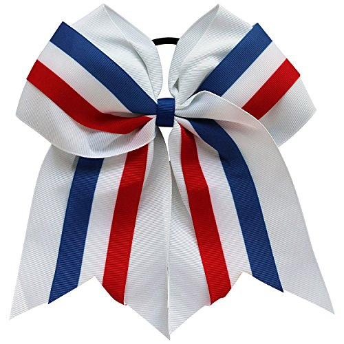 USA Patriotic Girls Cheer Team Hair Bow Accessory Red White and Blue -