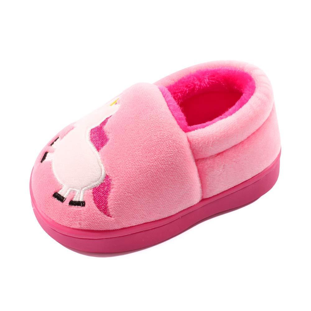 Zernar Toddler Boys Girls House Slippers,Kids Warm Cute Home Anti-Slip Fur Lined Winter Indoor Shoes