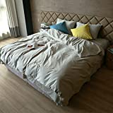 Quilt pillow case Cotton Four-piece set bed linings Simple fashion Solid color gray High-end Comfortable ( Size : 1.5M )