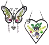 Banberry Designs Mom Gifts - Mom Butterfly and Heart Sun Catcher Set - Stained Glass Suncatchers with Pressed Flowers - Engraved Silver Mom Charms