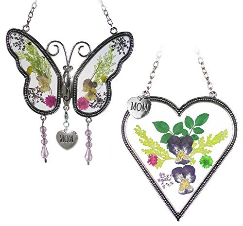 Banberry Designs Mom Gifts - Mom Butterfly and Heart Sun Catcher Set - Stained Glass Suncatchers with Pressed Flowers - Engraved Silver Mom Charms by Banberry Designs