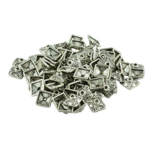 MonkeyJack 100Pcs 10mm Tibetan Silver Alloy Filigree 3D Pattern Square Caps Spacer Bead