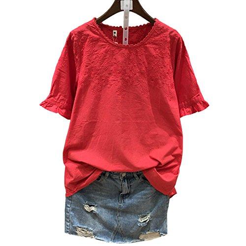 Xmy Lâche d'été arts loisirs coton couleur unie van simple crochet exposés fleurs manches courtes T-shirt filles code sont