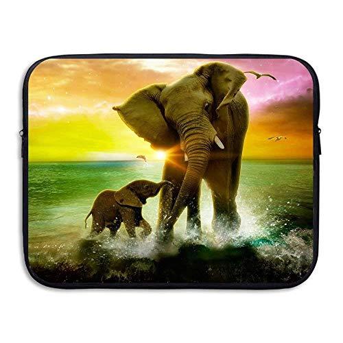Beach Surfer Laptop Sleeve, Cute Elephants Ocean 13-15 Inch 13-15 Inch Laptop Sleeve, Electronics Bag Neoprene Protective Waterproof Slim Laptop Sleeves Notebook Bag Cover for Women Men